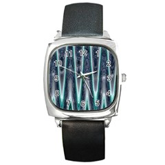 Blue Turquoise Zigzag Pattern Square Metal Watch by BrightVibesDesign