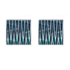 Blue Turquoise Zigzag Pattern Cufflinks (square) by BrightVibesDesign