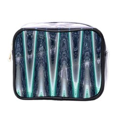 Blue Turquoise Zigzag Pattern Mini Toiletries Bags by BrightVibesDesign