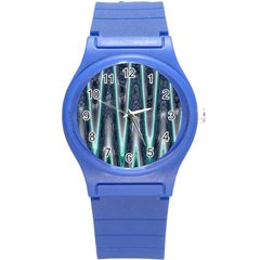 Blue Turquoise Zigzag Pattern Round Plastic Sport Watch (s) by BrightVibesDesign