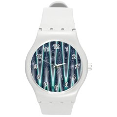 Blue Turquoise Zigzag Pattern Round Plastic Sport Watch (m) by BrightVibesDesign