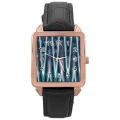 Blue Turquoise Zigzag Pattern Rose Gold Leather Watch  by BrightVibesDesign