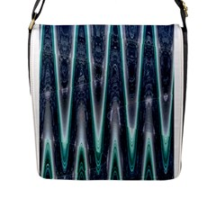 Blue Turquoise Zigzag Pattern Flap Messenger Bag (l)  by BrightVibesDesign