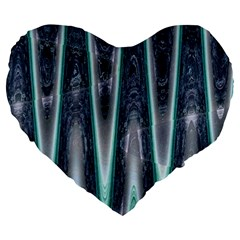 Blue Turquoise Zigzag Pattern Large 19  Premium Flano Heart Shape Cushions by BrightVibesDesign