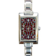 Fancy Maroon Blue Design Rectangle Italian Charm Watch by BrightVibesDesign
