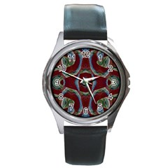 Fancy Maroon Blue Design Round Metal Watch by BrightVibesDesign