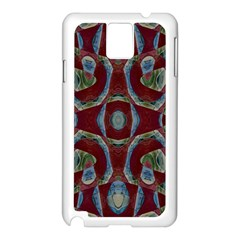 Fancy Maroon Blue Design Samsung Galaxy Note 3 N9005 Case (white) by BrightVibesDesign