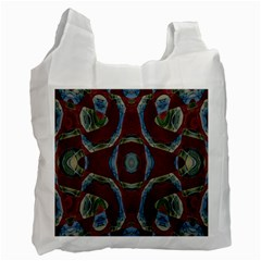 Fancy Maroon Blue Design Recycle Bag (one Side) by BrightVibesDesign