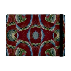 Fancy Maroon Blue Design Ipad Mini 2 Flip Cases by BrightVibesDesign
