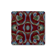 Fancy Maroon Blue Design Square Magnet by BrightVibesDesign