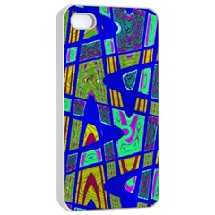 Bright Blue Mod Pop Art  Apple Iphone 4/4s Seamless Case (white) by BrightVibesDesign