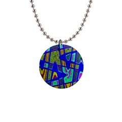 Bright Blue Mod Pop Art  Button Necklaces by BrightVibesDesign