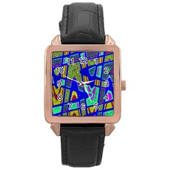 Bright Blue Mod Pop Art  Rose Gold Leather Watch  by BrightVibesDesign