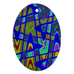 Bright Blue Mod Pop Art  Ornament (oval)  by BrightVibesDesign
