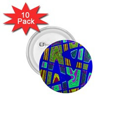 Bright Blue Mod Pop Art  1 75  Buttons (10 Pack) by BrightVibesDesign