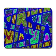 Bright Blue Mod Pop Art  Large Mousepads by BrightVibesDesign