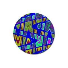 Bright Blue Mod Pop Art  Magnet 3  (round) by BrightVibesDesign