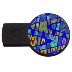 Bright Blue Mod Pop Art  Usb Flash Drive Round (2 Gb)  by BrightVibesDesign