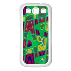 Bright Green Mod Pop Art Samsung Galaxy S3 Back Case (white) by BrightVibesDesign