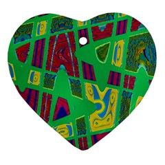 Bright Green Mod Pop Art Heart Ornament (2 Sides) by BrightVibesDesign