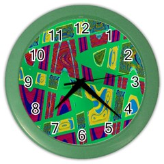 Bright Green Mod Pop Art Color Wall Clocks by BrightVibesDesign