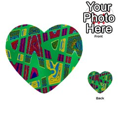 Bright Green Mod Pop Art Multi Purpose Cards (heart)  by BrightVibesDesign