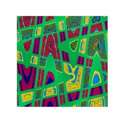 Bright Green Mod Pop Art Small Satin Scarf (square)  by BrightVibesDesign