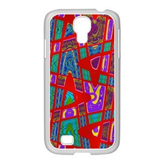 Bright Red Mod Pop Art Samsung Galaxy S4 I9500/ I9505 Case (white) by BrightVibesDesign