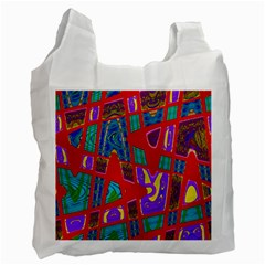 Bright Red Mod Pop Art Recycle Bag (one Side) by BrightVibesDesign