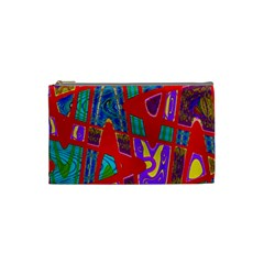 Bright Red Mod Pop Art Cosmetic Bag (small)  by BrightVibesDesign