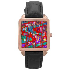 Bright Red Mod Pop Art Rose Gold Leather Watch  by BrightVibesDesign