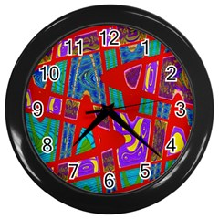 Bright Red Mod Pop Art Wall Clocks (black) by BrightVibesDesign