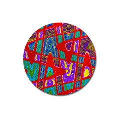 Bright Red Mod Pop Art Magnet 3  (round) by BrightVibesDesign