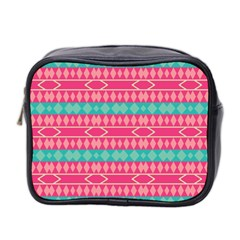 Pink Blue Rhombus Pattern                               Mini Toiletries Bag (two Sides) by LalyLauraFLM
