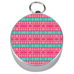 Pink Blue Rhombus Pattern                               Silver Compass by LalyLauraFLM