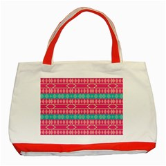 Pink Blue Rhombus Pattern                               			classic Tote Bag (red) by LalyLauraFLM