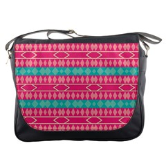 Pink Blue Rhombus Pattern                               			messenger Bag by LalyLauraFLM