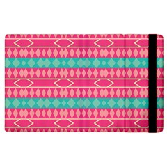 Pink Blue Rhombus Pattern                               			apple Ipad 2 Flip Case by LalyLauraFLM