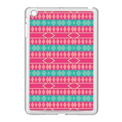 Pink Blue Rhombus Pattern                               			apple Ipad Mini Case (white) by LalyLauraFLM
