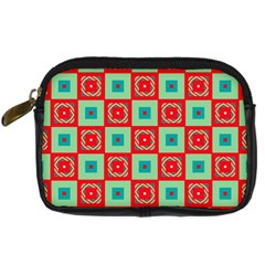 Blue Red Squares Pattern                                	digital Camera Leather Case by LalyLauraFLM