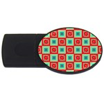 Blue red squares pattern                                			USB Flash Drive Oval (2 GB) Front
