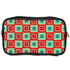 Blue Red Squares Pattern                                			toiletries Bag (one Side) by LalyLauraFLM