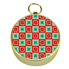 Blue Red Squares Pattern                                			gold Compass by LalyLauraFLM