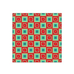 Blue Red Squares Pattern                                Satin Bandana Scarf by LalyLauraFLM