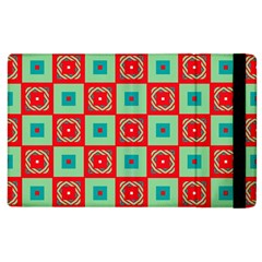 Blue Red Squares Pattern                                			apple Ipad 2 Flip Case by LalyLauraFLM