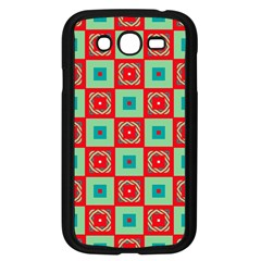 Blue Red Squares Pattern                                			samsung Galaxy Grand Duos I9082 Case (black) by LalyLauraFLM