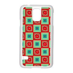 Blue Red Squares Pattern                                			samsung Galaxy S5 Case (white) by LalyLauraFLM