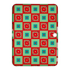 Blue Red Squares Pattern                                			samsung Galaxy Tab 4 (10 1 ) Hardshell Case by LalyLauraFLM