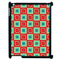 Blue Red Squares Pattern                                			apple Ipad 2 Case (black) by LalyLauraFLM