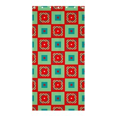 Blue Red Squares Pattern                                	shower Curtain 36  X 72  by LalyLauraFLM